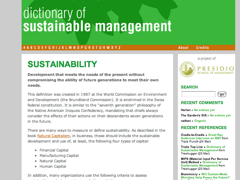 Dictionary of Sustainable Management (design and production)